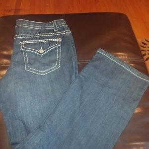 Paisley Sky Jeans - Dark Jeans with White Stitching. Size 18